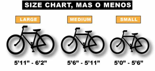 Three bicycles showing the size of each.